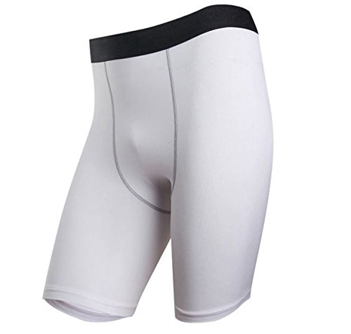MD Group Mens Sports Tight Shorts White Fitness Training Slim Breeches