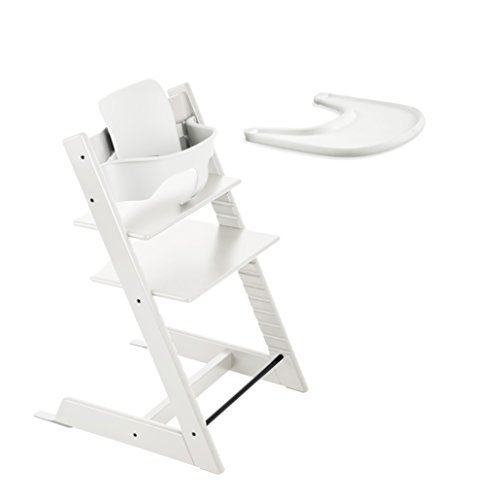 Stokke Tripp Trapp High Chair, Baby Set - White & Tray - White (Stokke Tripp Trapp High Chair Complete Bundle)