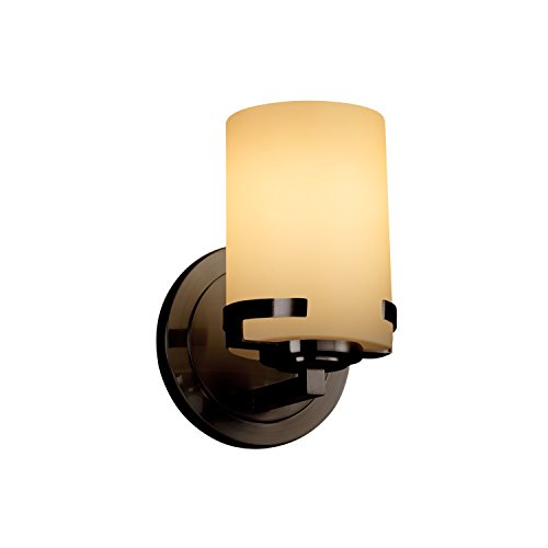 Justice Design Group Lighting FSN-8451-10-ALMD-DBRZ-LED1-700 Fusion Atlas LED 1-Light Wall Sconce-Dark Bronze Finish with Artisan Glass Almond-Cylinder with Flat Rim ()
