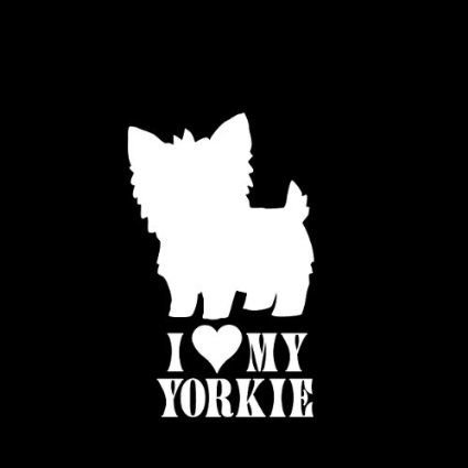I Love My Yorkie Yorkshire Terrier Dogs Vinyl Decal Sticker|WHITE|Cars Trucks Vans SUV Laptops Tool Box Wall Art|5.5