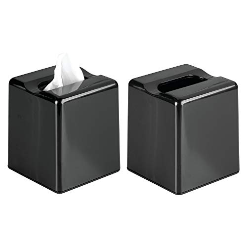 mDesign Square Facial Tissue Box Cover Holder for Bathroom Vanity Counter Tops, Bedroom Dressers, Night Stands, Desks and Tables - Pack of 2, Black