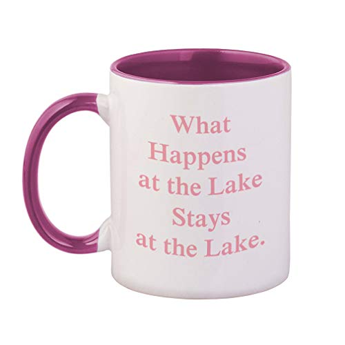 Style In Print Soft Pink What Happens at The Lake Stays at The Lake 2 Ceramic Cup Colored Mug - Pink