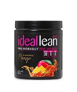 IdealLean, Pre Workout For Women, Pineapple Mango - Improve Energy, Endurance and Focus For Better Workout Performance - 30 Servings, 14.4 oz