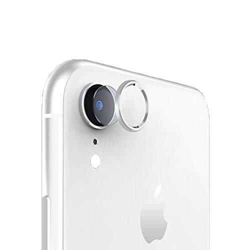 Sakula Camera Lens Protector Plating Aluminum Camera Case Cover Ring with Tempered Glass Film Designed for iPhone XR Silver