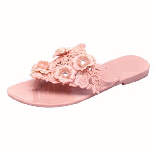 Hunputa Women Plastic Beach Shoes Jelly color Flower Flat Casual Sandals Slipper (Pink, 39(US 8))