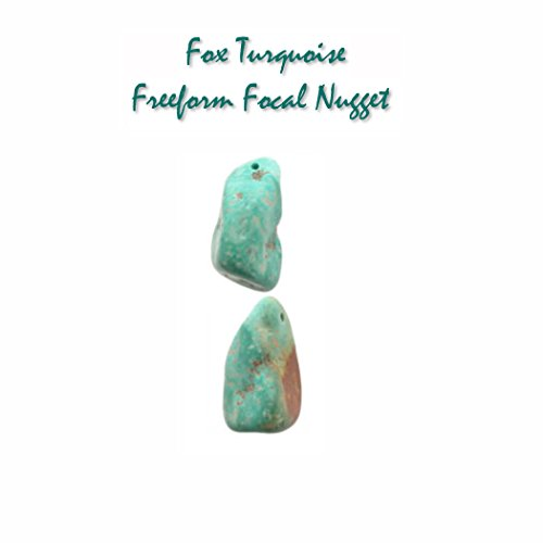 Genuine Fox (Nevada) Turquoise 19x31x16mm Freeform Focal Nugget for Jewelry Making (Bead Pendant Turquoise Freeform)