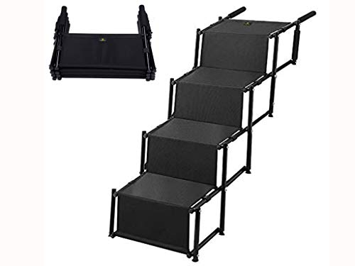 Snagle Paw Pet Dog Car Step Stairs, Accordion Metal Frame Folding Pet Ramp Indoor Outdoor Use, Lightweight Portable Auto Large Dog Cat Ladder, Great Cars, Trucks SUVs Cargo, Couch High Bed