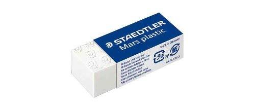 (STAEDTLER Mars Plastic Eraser Pack Of 3Plastic Mini, White)