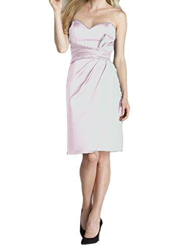 Sweetheart Femmes Dkbridal Courte Robes De Bal Satin Robes De Mariée Taille Froncé Blanc