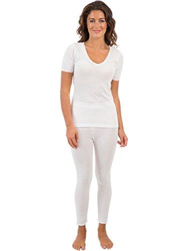 Viloft ® Mujeres/Damas Conjunto De Ropa Interior Térmica, Chaleco De Manga Corta Y Pantalón Largo Blanco, Varios Tamaños