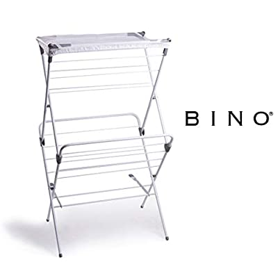BINO 2-Tier Collapsing Foldable Laundry Drying Rack, White - LARGE DRYING SPACE: BINO's foldable drying rack provides space to dry your garments, bedsheets, clothes, towels, etc. 18 drying rods offer 32.75 feet of drying space. Bonus mesh garment dryer included DURABLE: Made of durable yet lightweight and sturdy steel that is easy to move from room to room NO ASSEMBLY REQUIRED: Designed to drop open and lock into position. The collapsible design folds flat in an accordion style allowing storage in compact spaces - laundry-room, entryway-laundry-room, drying-racks - 31MiuUWp7UL. SS400  -