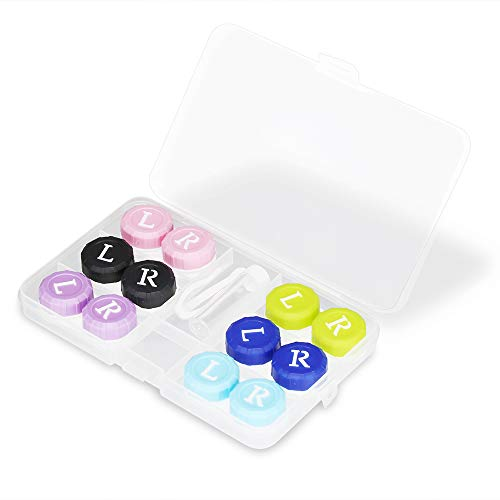 VEGOLS 6 Pack Contact Lens Case, Portable Contacts Lenses Case Holder, Coloured Contact Glasses Soaking Storage Box - 6 Colors