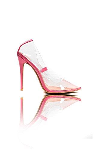 Ikrush Womens Mia Perspex Court Heels Pink oFfJMX