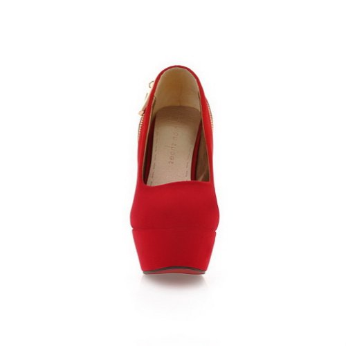Frosted High Heel UK Solid 6 VogueZone009 Closed Toe Round Womans Pumps 5 Suede Red RXwqx0a