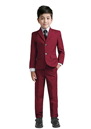 YuanLu Kids Suit for Boys Blazer Vest Dress Pants White Shirt and Tie Burgundy Size 8