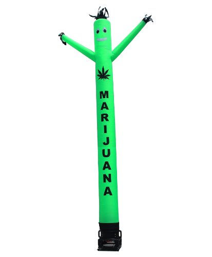 Marijuana Air Dancer & Blower Complete Set - w/Lettering & Marijuana Leaf Logo - 20ft Green Wacky Inflatable Tube Man Sky Dancer with Blower by LookOurWay (Image #2)