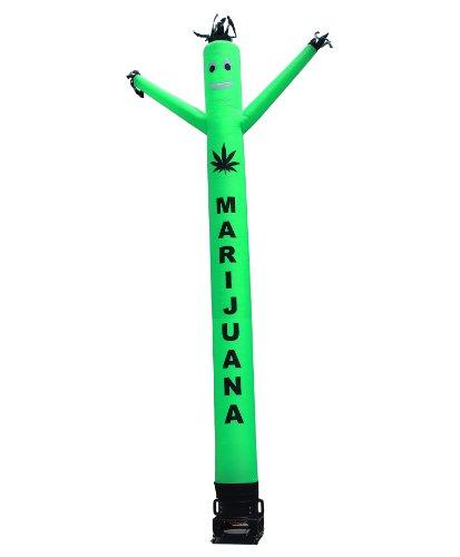 Marijuana Air Dancer & Blower Complete Set - w/Lettering & Marijuana Leaf Logo - 20ft Green Wacky Inflatable Tube Man Sky Dancer with Blower ()