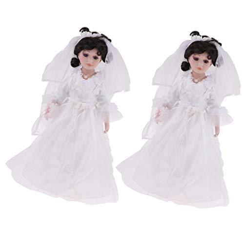 (SM SunniMix 2pcs 40cm Elegant Porcelain Bride Woman Doll People with Wedding Dress for Kids Birthday Gifts)