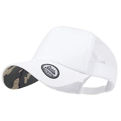 - ililily Extra Big Size Adjustable Mesh Back Curved Baseball Cap Trucker Hat (Large, White Camo)