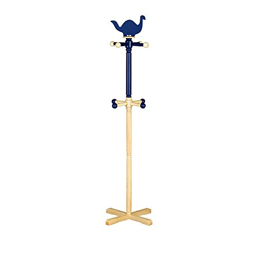 LQQGXLModern minimalist coat rack, Full solid wood coat rack hanger floor children's hangers teens school bag clothes rack (Color : Blue) by LQQGXL