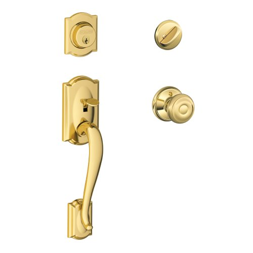 Handleset Brass Knob - Camelot Single Cylinder Handleset and Georgian Knob, Bright Brass (F60 CAM 605 GEO)