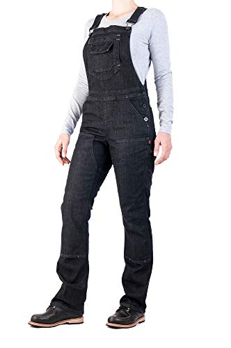 Dovetail Workwear Overalls for Women: Freshley Stretch Bib Overall, Black Denim, Size 4, 32