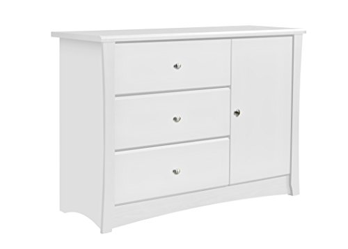 Storkcraft Crescent 3 Drawer Combo Dresser, White, Kids Bedroom Dresser with 3 Drawers & 2 Shelves, Wood & Composite Construction, Ideal for Nursery, Toddlers Room, Kids Room
