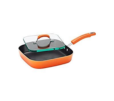 Rachael Ray Hard Enamel Nonstick 11-Inch Square Deep Griddle and Glass Press