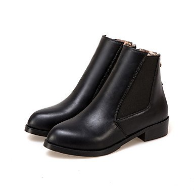 Career Gold Black Low Black Winter amp;xuezi Fashion Dress Flat amp; Zipper Boots Boots Women's Fall Office Heel Leatherette Gll qPUaZa