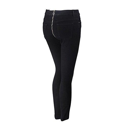 ajustados vaqueros Jeans cremallera las Pantalones Aprieta con Pantalones slim nalgas Negro Ocio Hzjundasi qxBUwZcAB