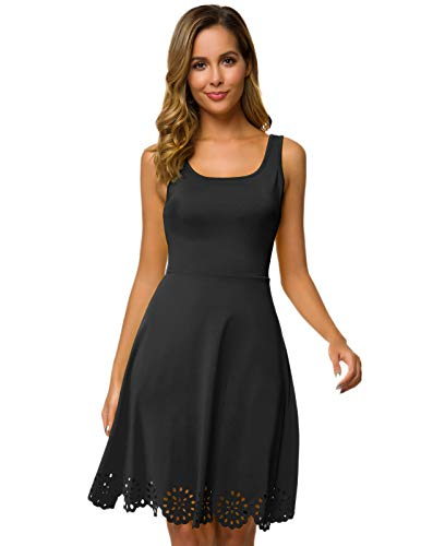 - CHICIRIS Women's Sleeveless Scalloped Hem Stretchy Swing Dress Cocktail Party Skater Dress Black L