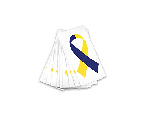 Small Blue & Yellow Ribbon Awareness Decals