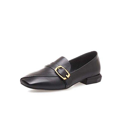 38 Tacón bajo Metal Hebilla Talla Zapatos Decoración Marrón Square 34 39 Color Zapatos Mujer Tamaño Toe de de Negro de Negro 16vRqvPw