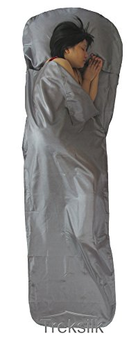 (GRAY Mummy Treksilk Single ART SILK Sleeping Bag Liner Sack Travel Sleep Sheet Backpack)