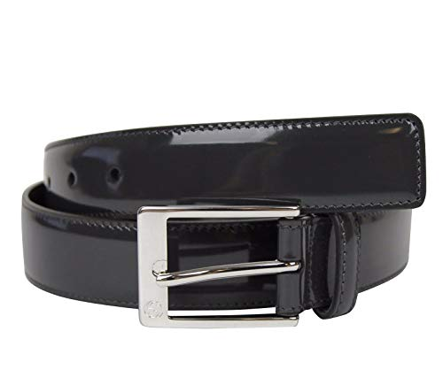 Gucci Men's Square Dark Gray Patent Leather Belt with GG Detail Buckle 345658 1107 (95/38)