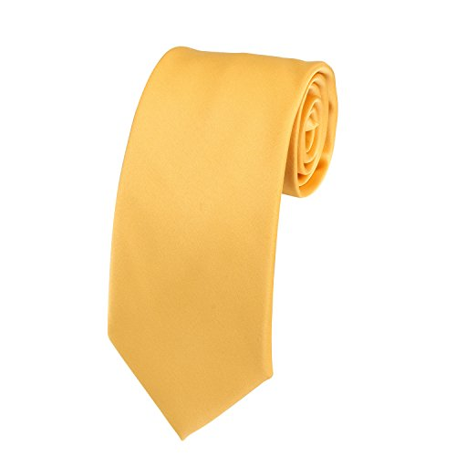 Solid Color Satin Ties Mens Neckties with Gift Box by Doninex (Gold) (Gold Polyester Necktie Satin)