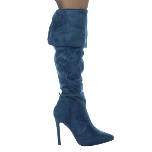 Boot Thigh Stiletto Shoes Women's Fashion 10 Blue Angkorly classic CM 5 stiletto sexy IwqgRtS