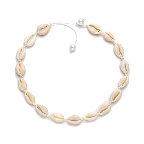 Necklace Surfer White - HSWE Pearls Cowrie Shell Choker Necklace for Women Puka Shell Necklace Seashell Necklace Adjustable Handmade Hawaiian Summer Jewelry (White#1)
