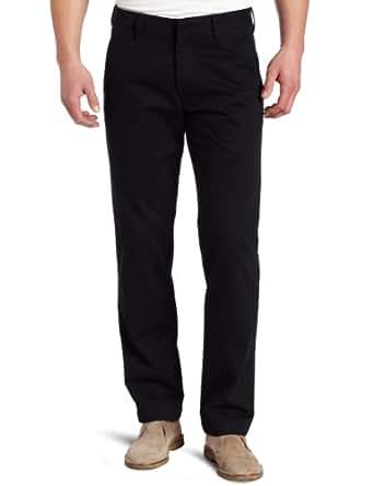 Haggar Men's Life Khaki Slim Fit Flat Front Dress Trouser Pant,Black,32x30
