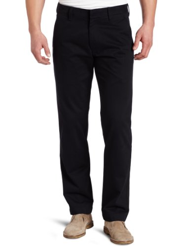 Haggar Men's Life Khaki Slim Fit Flat Front Dress Trouser Pant,Black,32x32