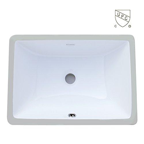 Boharers BC2001C Undermount Rectangular Lavatory Vitreous China Sink, White 18-Inch (White Undermount Sink Ceramic)