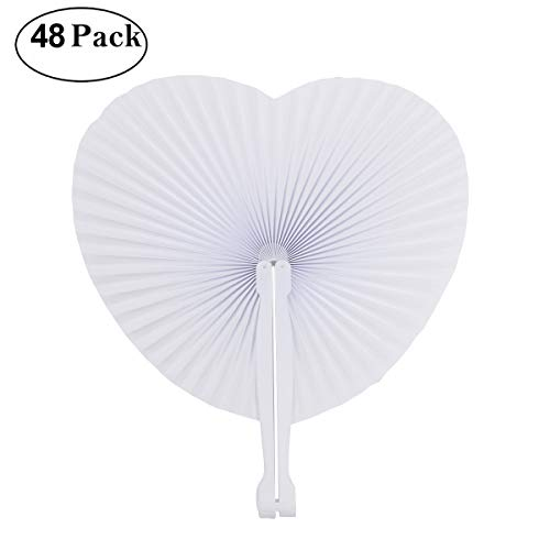 Cusfull 48 Pack White Folding Paper Fans Handheld Paper Fans for Wedding/Party / Party Favours (Heart Shape)