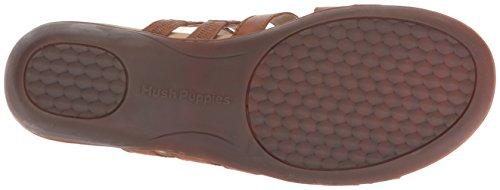 Hush Puppies Womens Dachshund Slide Sandal Tan Leather