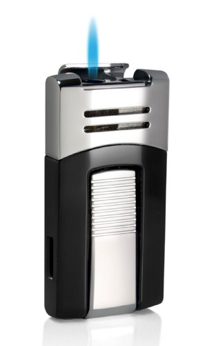 Visol Caseti Corinth Black and Chrome Single Torch Flame Cigar Lighter by Visol