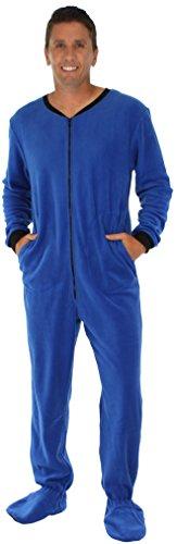 PajamaMania Men's Fleece Onesie Footed Pajama Pjs Blue- XL (Adult Onsie With Feet)
