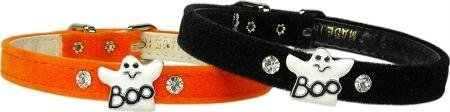 Mirage Pet Products Ghost Charm Collar for Dogs, 16-Inch, Orange Velvet