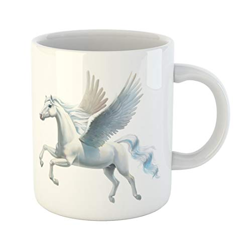 Tarolo 11 Oz Mug Coffee Mug Ceramic Tea Cup Unicorn Pegasus White Horse Flying Cute Fantasy Moon Large C-handle Family and Office Gift
