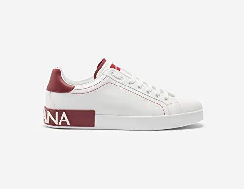 Dolce & Gabbana Calfskin Nappa Portofino Sneakers (38.5, White/RED)