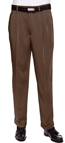 (RGM Men's Work to Weekend Microfiber Performance Traditional Fit Pleated Dress Pant Brown 38 Short)