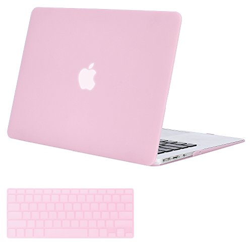 MOSISOMacBook Air 13 Inch Case (Release 2010-2017 Older Version), Plastic Hard Shell Case & Keyboard Cover Only Compatible MacBook Air 13 Inch (A1369 & A1466), Clear Pink
